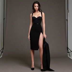 Bandage Waist Detail Bodycon Dress in Black